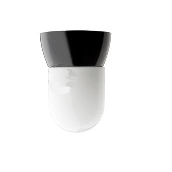 Plafonnier ou applique bakelite noir plastique opale glass018 o10 h11cm zangra normal
