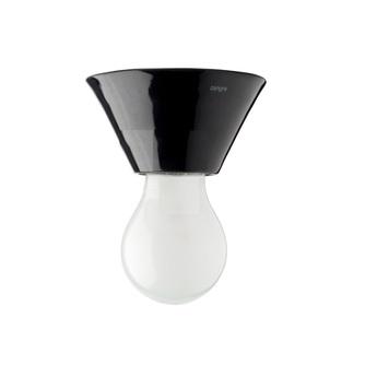 Plafonnier ou applique pure porcelaine conique noir en saillie o10 h5 5cm zangra normal