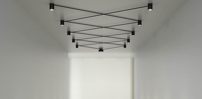 Plafonnier pivot 10 personnalisable noir led 2700k 6880lm l100cm h9 8cm axo light normal