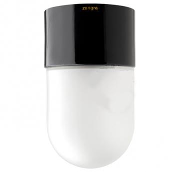 Plafonnier porcelaine et verre noir o8 5cm h5cm zangra normal