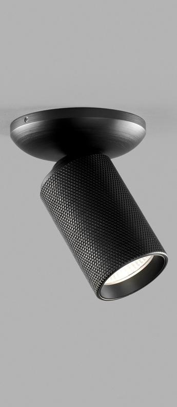 Plafonnier raw 1 noir led 3000k 600lm l10cm h13cm light point normal
