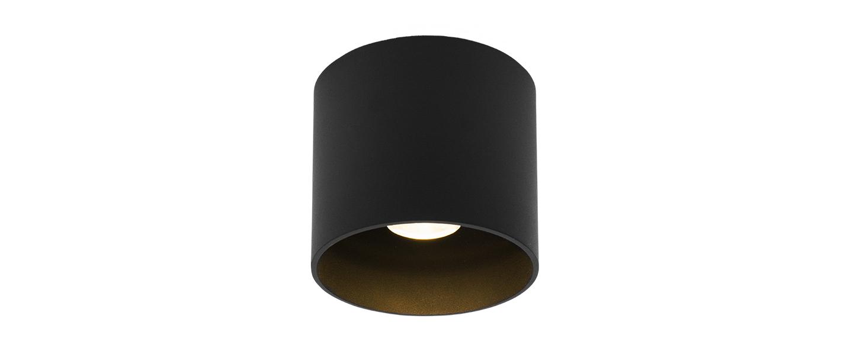 Plafonnier ray 1 0 noir ip65 led 3000k 610lm o11 4cm h10cm wever ducre normal