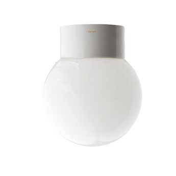 Plafonnier salle de bain ip54 blanc globe en verre opale 013 porcelaine o14 5 h18cm zangra normal