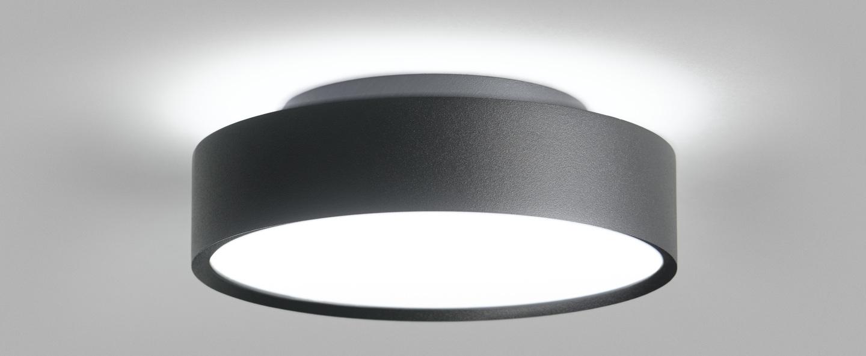 Plafonnier shadow 2 noir ip54 led 3000k 1800lm o21 5cm h6 5cm light point normal
