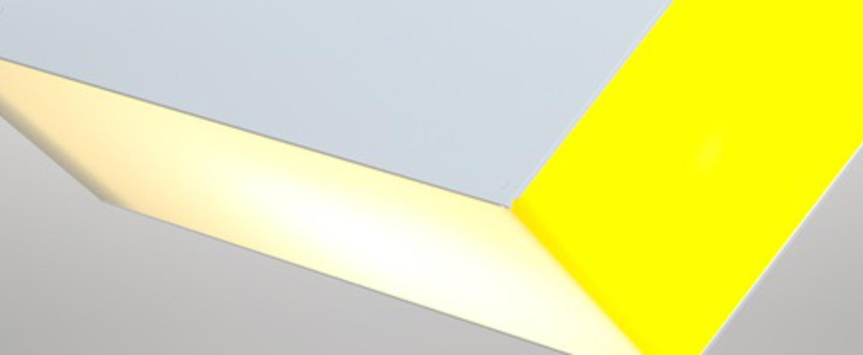 Plafonnier solid blanc jaune l71 5cm h25cm atelier areti normal