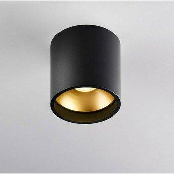 Plafonnier solo 1 noir et or ip54 led 3000k 380lm o8cm h8cm light point normal