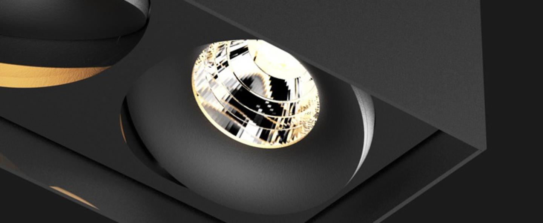 Plafonnier titan box organic led dimmable noir mat h12cm l17 4cm doxis normal