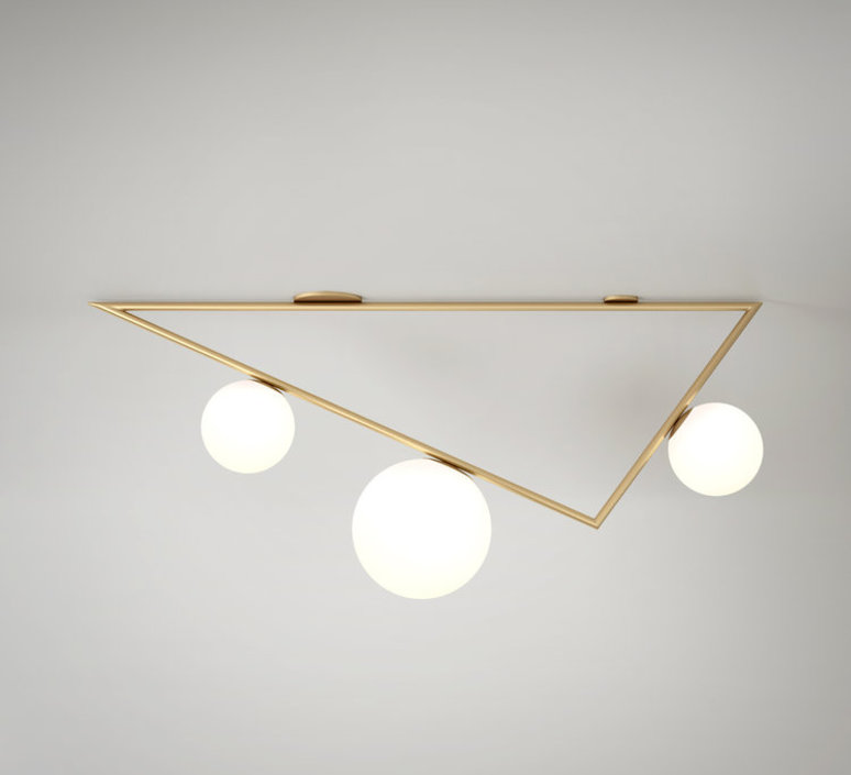Triangle 2 1 1m  gwendolyn et guillane kerschbaumer plafonnier ceilling light  atelier areti triangle 100 02 1 brass  design signed 44042 product