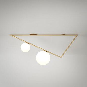 Plafonnier triangle 2 1m laiton l100cm h33 3cm atelier areti normal