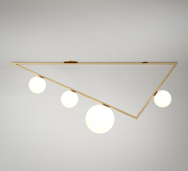 Triangle 3 1 1m  gwendolyn et guillane kerschbaumer plafonnier ceilling light  atelier areti triangle 100 03 1 brass  design signed 44055 product