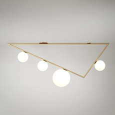 Triangle 3 1 1m  gwendolyn et guillane kerschbaumer plafonnier ceilling light  atelier areti triangle 100 03 1 brass  design signed 44055 thumb