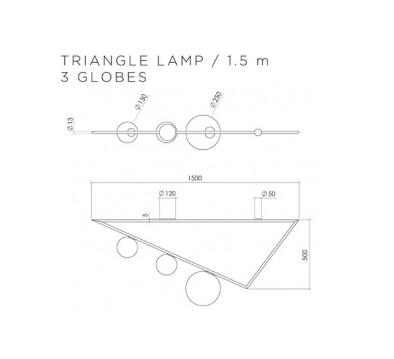 Triangle 3 1 5m  gwendolyn et guillane kerschbaumer plafonnier ceilling light  atelier areti triangle 150 03 brass  design signed 44047 product