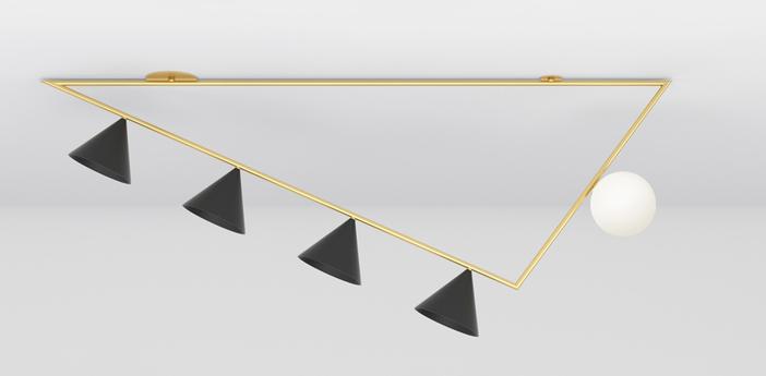 Plafonnier triangle girlande laiton l139 4cm h62 8cm atelier areti normal