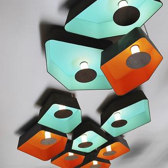 Plafonnier trio grand nenuphar led turquoise orange h150cm designheure normal