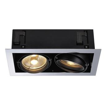 Spot encastrable aixlight flat 2 chrome noir mat led l37 5cm h14cm slv normal