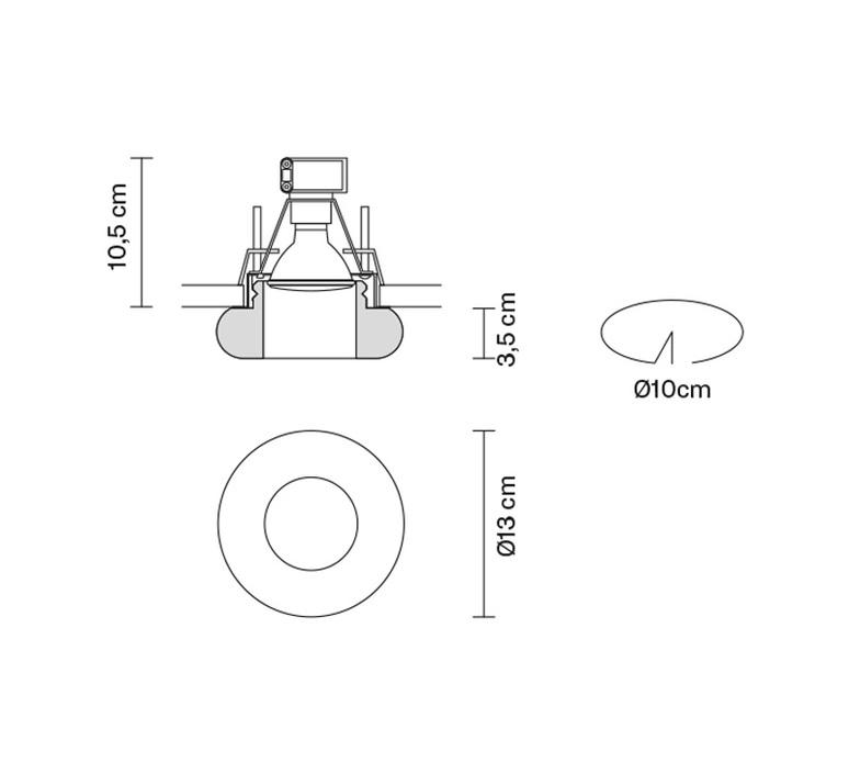 Faretti d27 tondo pamio design spot encastrable recessed light  fabbian d27f64 00  design signed 40091 product