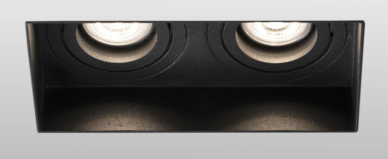 Spot encastrable hyde double trimless orientable noir l16 4cm h5 5cm faro normal