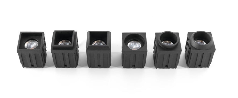 Spot encastrable led 4x qbini square tapered in noir cadre noir h5 5cm l4 4cm 2700k 40 modular normal