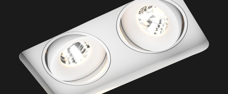Spot encastrable titan trimless double square blanc l30cm l28cm 3000k 40 910lm doxis normal