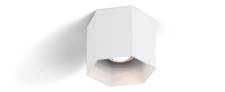 Spot plafonnier hexo blanc gu10 h10cm o12 7cm wever ducre normal