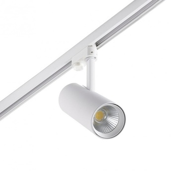 Spot projecteur rail fuga medium led blanc orientable 3000k 1500lm o8 5cm h23 5cm faro normal