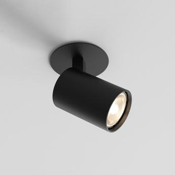 Spot semi encastre ascoli noir mat o8cm h12 8cm astro normal