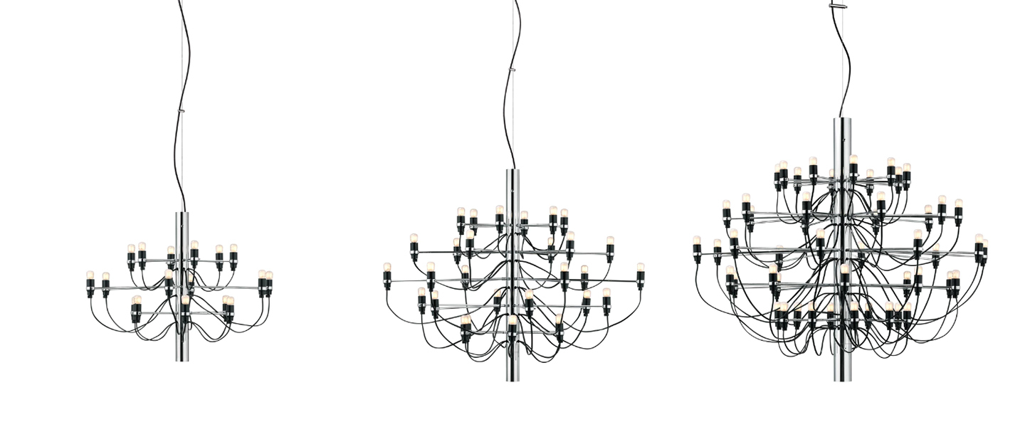 Suspension 2097 18 chrome ampoules depolies o69cm h51cm flos normal