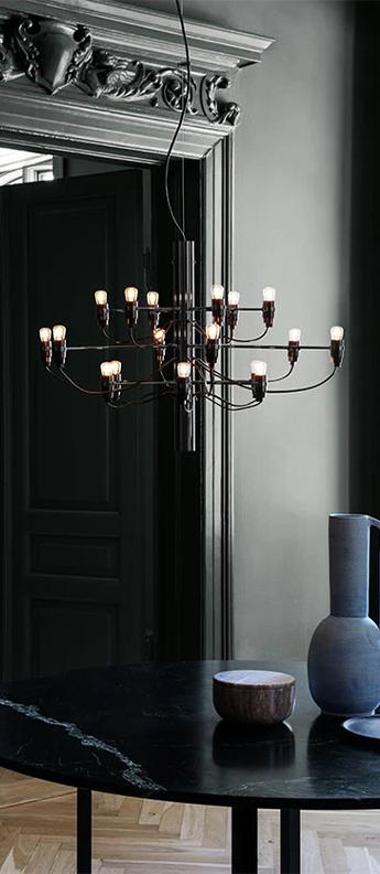 Suspension 2097 18 noir ampoules depolies o69cm h51cm flos normal