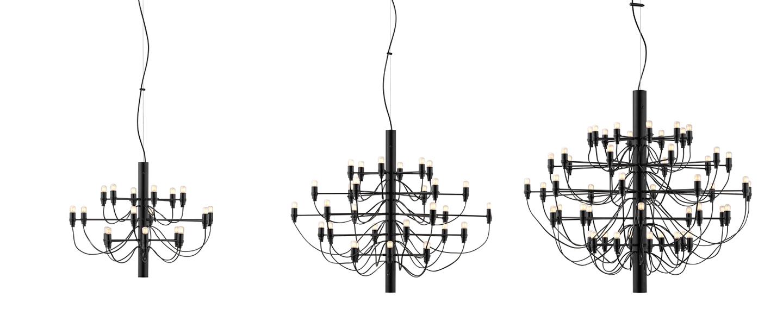 Suspension 2097 30 noir ampoules depolies o88cm h72cm flos normal