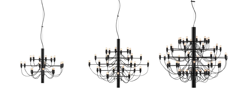 Suspension 2097 30 noir ampoules transparentes o88cm h72cm flos normal