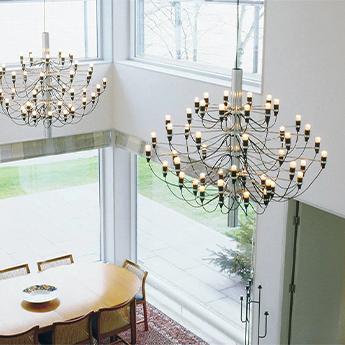 Suspension 2097 50 chrome ampoules transparentes o100cm h88cm flos normal