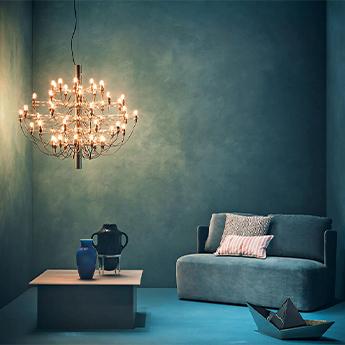 Suspension 2097 50 laiton ampoules depolies o100cm h88cm flos normal