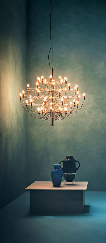 Suspension 2097 50 laiton ampoules transparentes o100cm h88cm flos normal