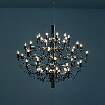 Suspension 2097 50 noir ampoules transparentes o100cm h88cm flos normal