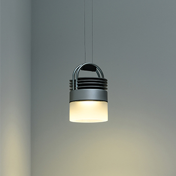 Suspension airmod recessed argent et transparent sable led 2700k 900lm o10cm h16cm sammode normal