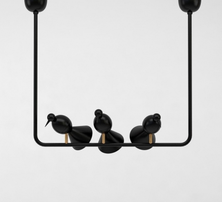 Alouette ceiling three birds gwendolyn et guillane kerschbaumer suspension pendant light  atelier areti  alouette ceiling 3 birds brass black  design signed 78420 product