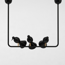 Alouette ceiling three birds gwendolyn et guillane kerschbaumer suspension pendant light  atelier areti  alouette ceiling 3 birds brass black  design signed 78420 thumb