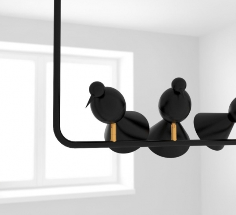 Alouette ceiling three birds gwendolyn et guillane kerschbaumer suspension pendant light  atelier areti  alouette ceiling 3 birds brass black  design signed 78421 product