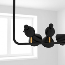 Alouette ceiling three birds gwendolyn et guillane kerschbaumer suspension pendant light  atelier areti  alouette ceiling 3 birds brass black  design signed 78421 thumb