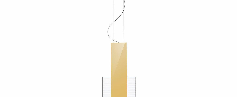 Suspension amulette transparent or led 3000k l17cm h44cm fabbian normal