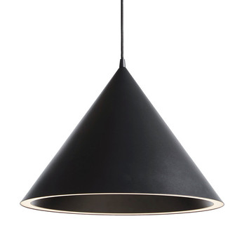 Suspension annular pendant large noir led l46 8cm h32 4cm woud normal