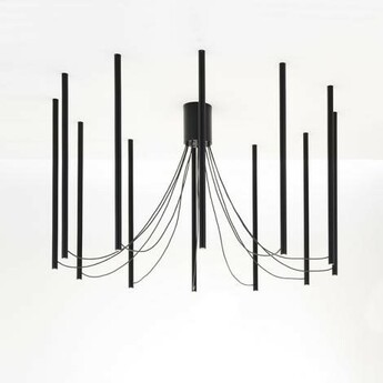 Suspension ari 12 noir led 3000k o150cm h90cm fabbian normal