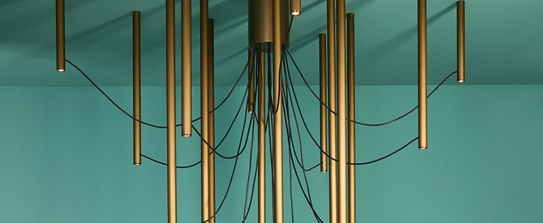Suspension ari 16 bronze led 3000k o150cm h120cm fabbian normal