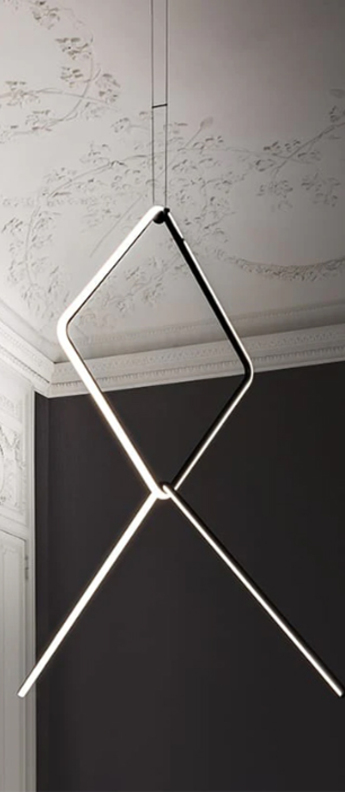 Suspension arrangements square l broken line noir led 2700k 3294lm o102cm h114 9cm flos normal