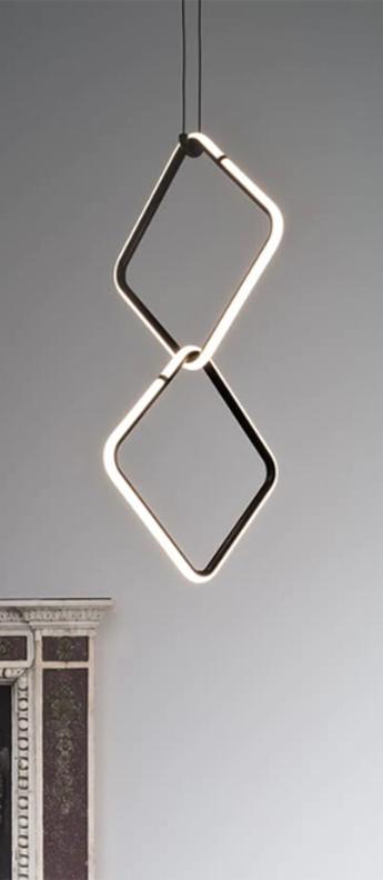 Suspension arrangements square s x2 noir led 2700k 1836lm o39 5cm h75cm flos normal