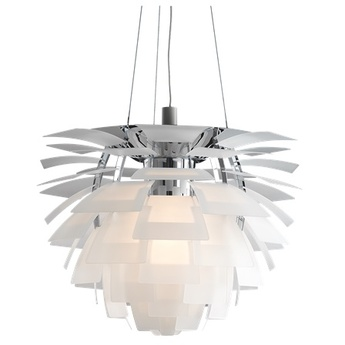 Suspension artichoke verre verre transparent chrome o60cm h58cm louis poulsen normal