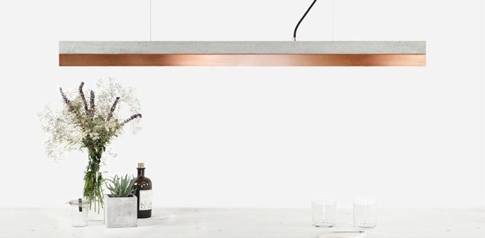 Suspension b1 beton clair et cuivre led 4000k 2100lm l122cm h8cm gantlights normal