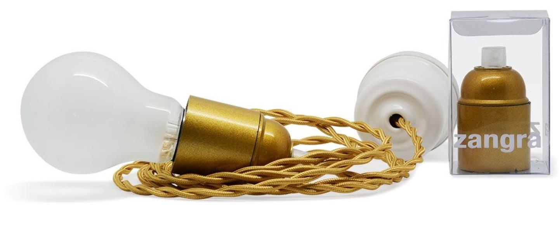 Suspension bakelite et porcelaine cable 3m or o6cm h5cm zangra normal