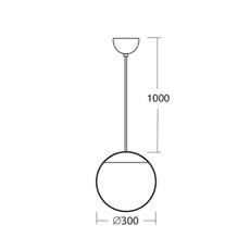 Suspension, Ball, IP40, laiton, Ø30cm, Hcm Zangra