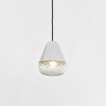 Suspension balloton 7212 1 acorn mini blanc et transparent o20cm h25cm mm lampadari normal
